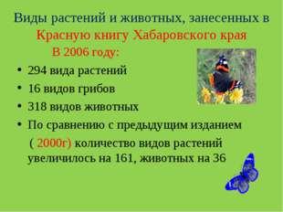 В 2006 году: 294 вида растений 16 видов грибов 318 видов животных По сравнен