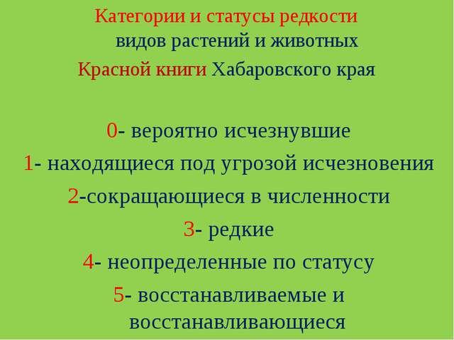Категории и статусы редкости видов растений и животных Красной книги Хабаровс...