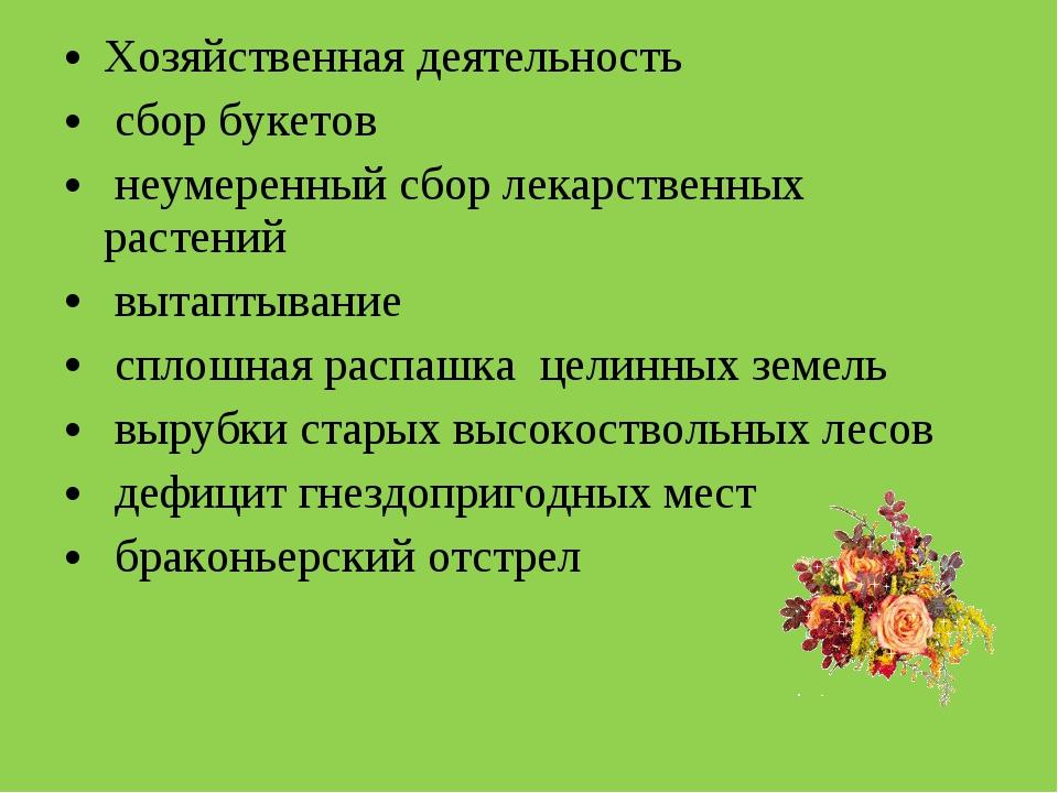 Хозяйственная деятельность сбор букетов неумеренный сбор лекарственных растен...
