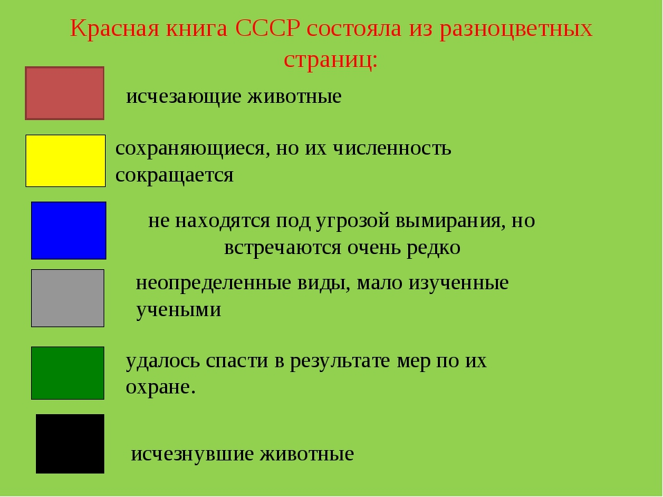 Красная книга СССР состояла из разноцветных страниц: исчезающие животные сох...