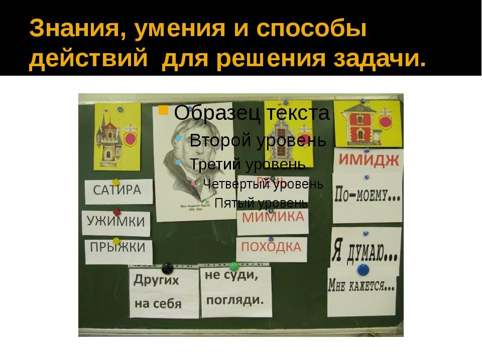 Знания, умения и способы действий для решения задачи.
