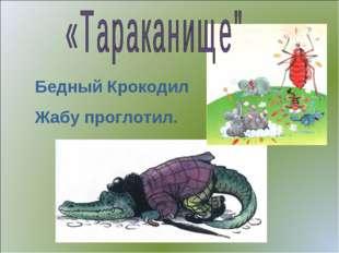Бедный Крокодил Жабу проглотил.