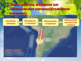 Зависимость климата от океанических течений(холодное течение). Холодное тече