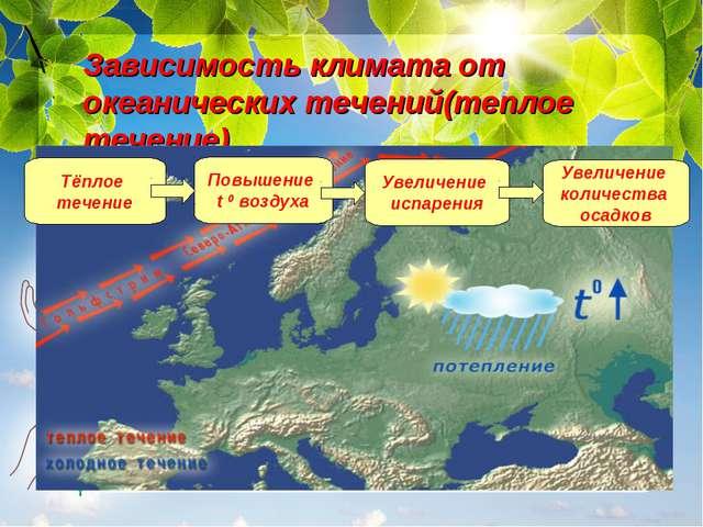 Зависимость климата от океанических течений(теплое течение). Чем дальше в гл...
