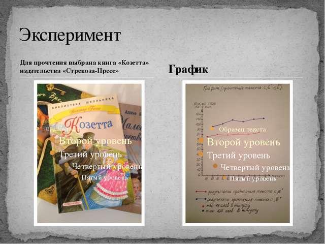 Для прочтения выбрана книга «Козетта» издательства «Стрекоза-Пресс» Экспериме...