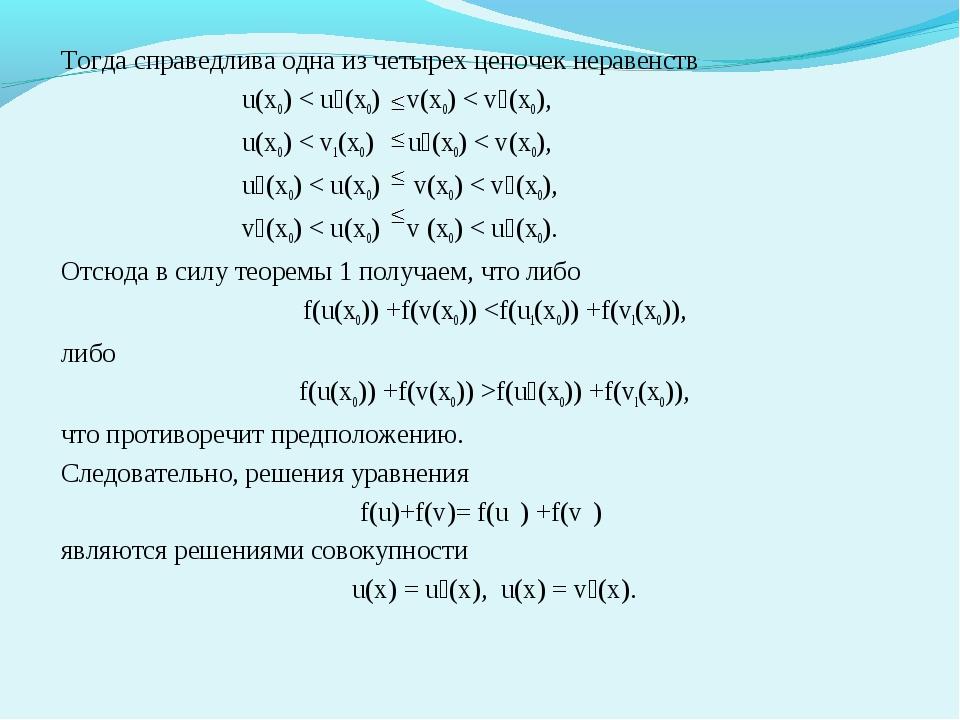 Тогда справедлива одна из четырех цепочек неравенств u(х0) < u₁(х0) v(x0) < v...
