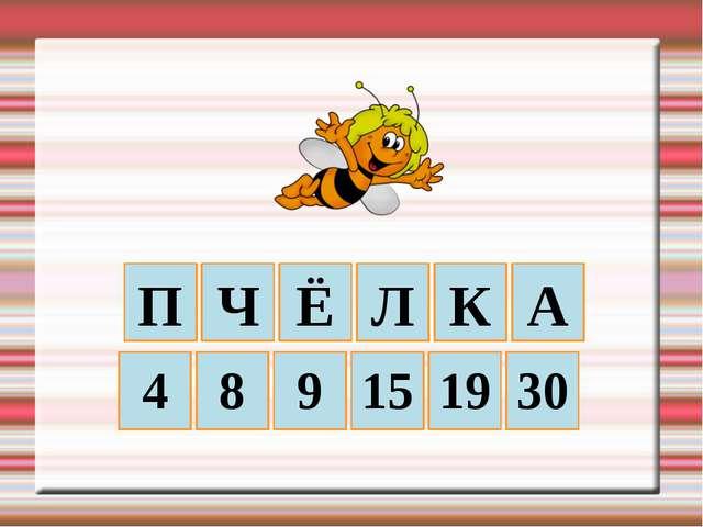 П Ч Ё Л К А 30 19 15 9 8 4