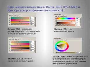 Ниже находятся вкладки панели Цветов: RGB, HSV, CMYK и Круг и регулятор альфа