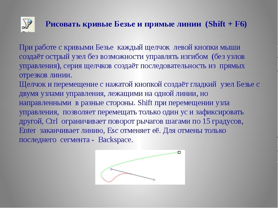 Рисовать кривые Безье и прямые линии (Shift + F6) При работе с кривыми Безье...