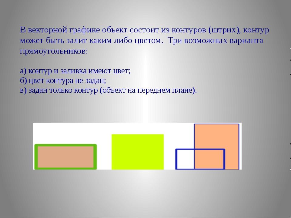 В векторной графике объект состоит из контуров (штрих), контур может быть зал...