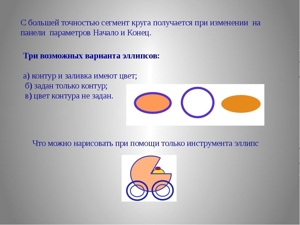 С большей точностью сегмент круга получается при изменении на панели параметр...