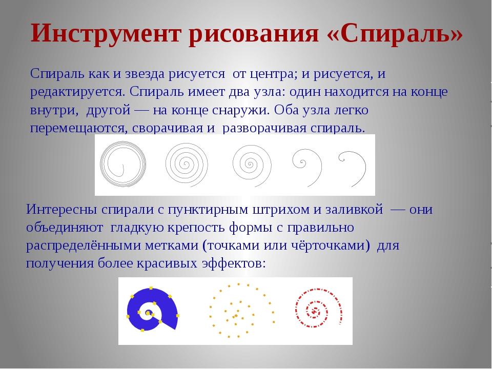 Инструмент рисования «Спираль» Спираль как и звезда рисуется от центра; и рис...