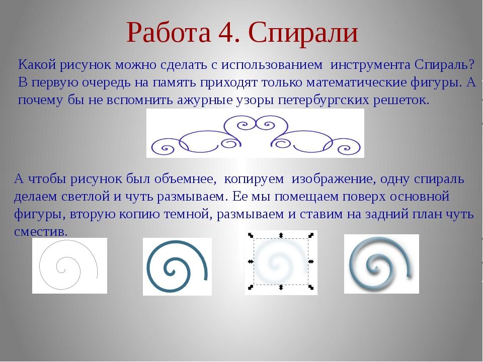 Работа 4. Спирали Какой рисунок можно сделать с использованием инструмента Сп...