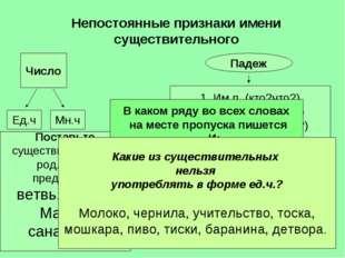 Непостоянные признаки имени существительного Число Мн.ч Ед.ч Падеж 1. Им.п (к