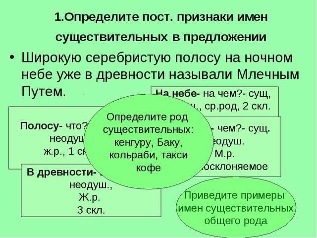 1.Определите пост. признаки имен существительных в предложении Широкую серебр...