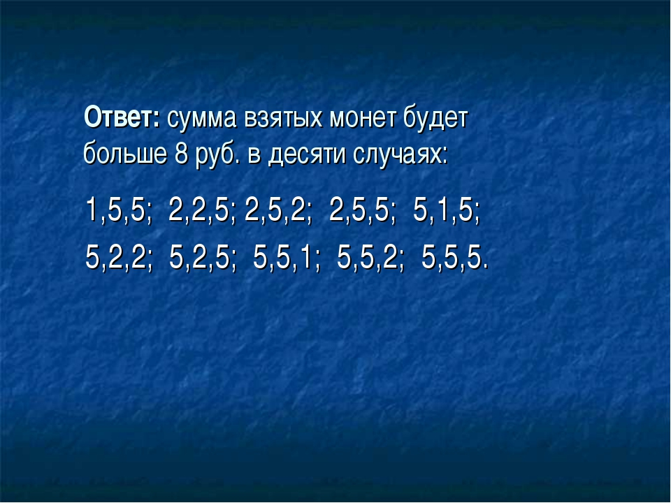 Ответ: сумма взятых монет будет больше 8 руб. в десяти случаях: 1,5,5; 2,2,5;...