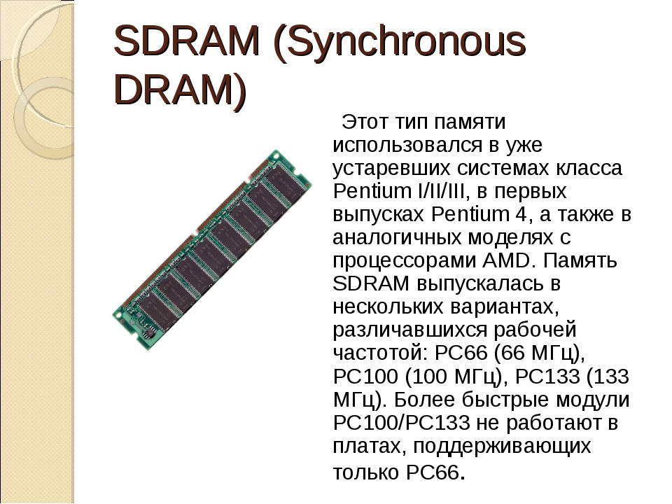 SDRAM (Synchronous DRAM) Этот тип памяти использовался в уже устаревших сист...