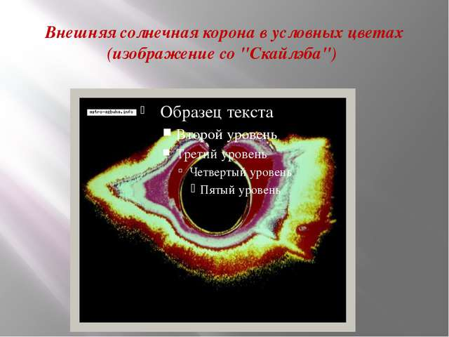 """Внешняя солнечная корона в условных цветах (изображение со """"Скайлэба"""")"""
