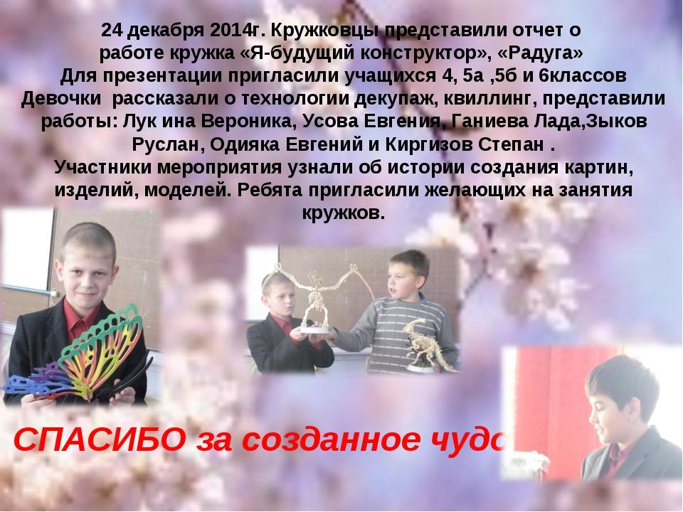 24 декабря 2014г. Кружковцы представили отчет о работе кружка «Я-будущий конс...