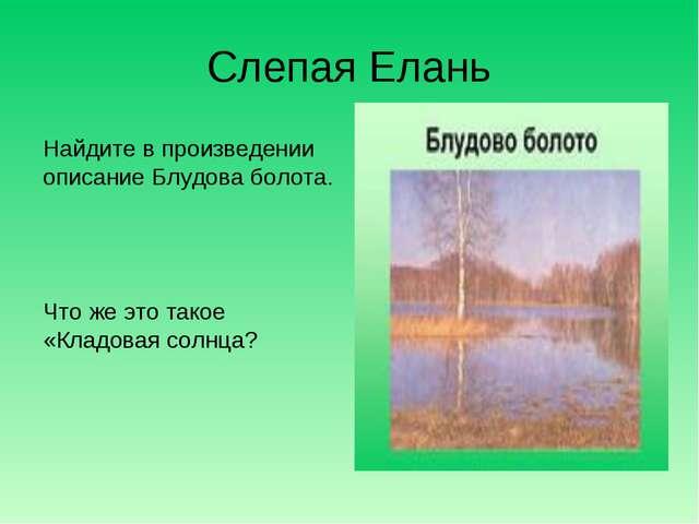 Слепая Елань Найдите в произведении описание Блудова болота. Что же это такое...