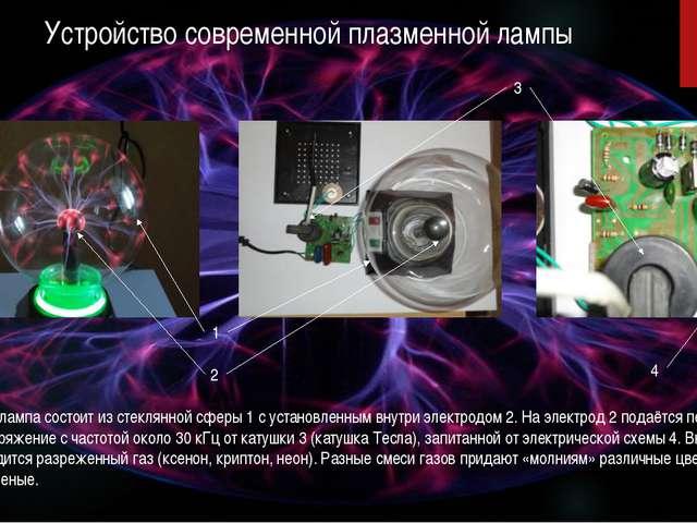 Устройство современной плазменной лампы Плазменная лампа состоит из стеклянно...