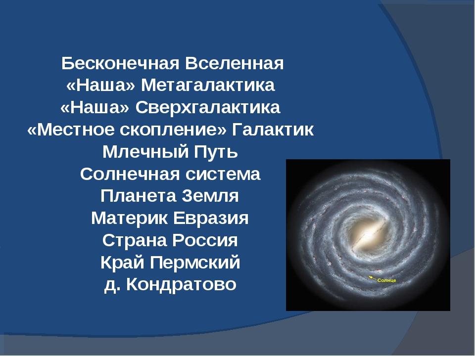 Бесконечная Вселенная «Наша» Метагалактика «Наша» Сверхгалактика «Местное ск...