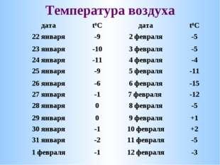 Температура воздуха датаt0Cдатаt0C 22 января-92 февраля-5 23 января-10