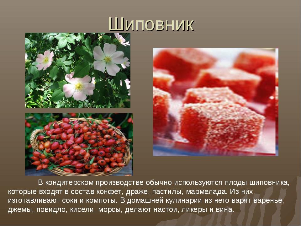 Шиповник В кондитерском производстве обычно используются плоды шиповника, ко...