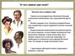 От чего зависит цвет кожи? Прочтите текст и найдите ответ. Темная кожа негрои
