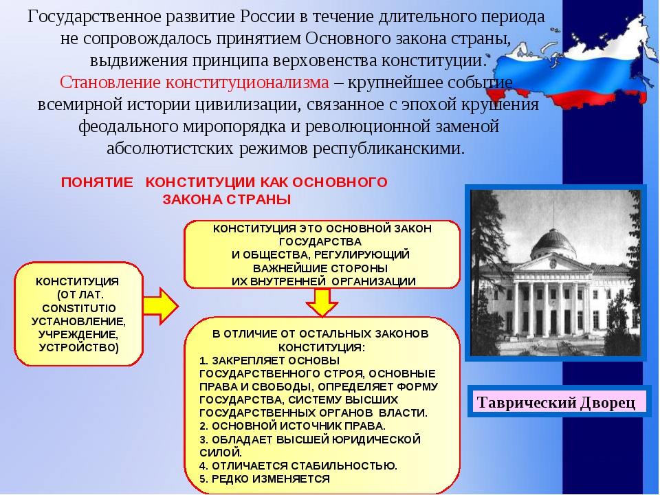 Государственное развитие России в течение длительного периода не сопровождало...