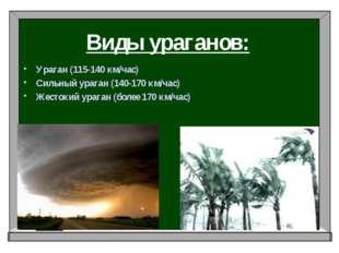 Виды ураганов: Ураган (115-140 км/час) Сильный ураган (140-170 км/час) Жесток