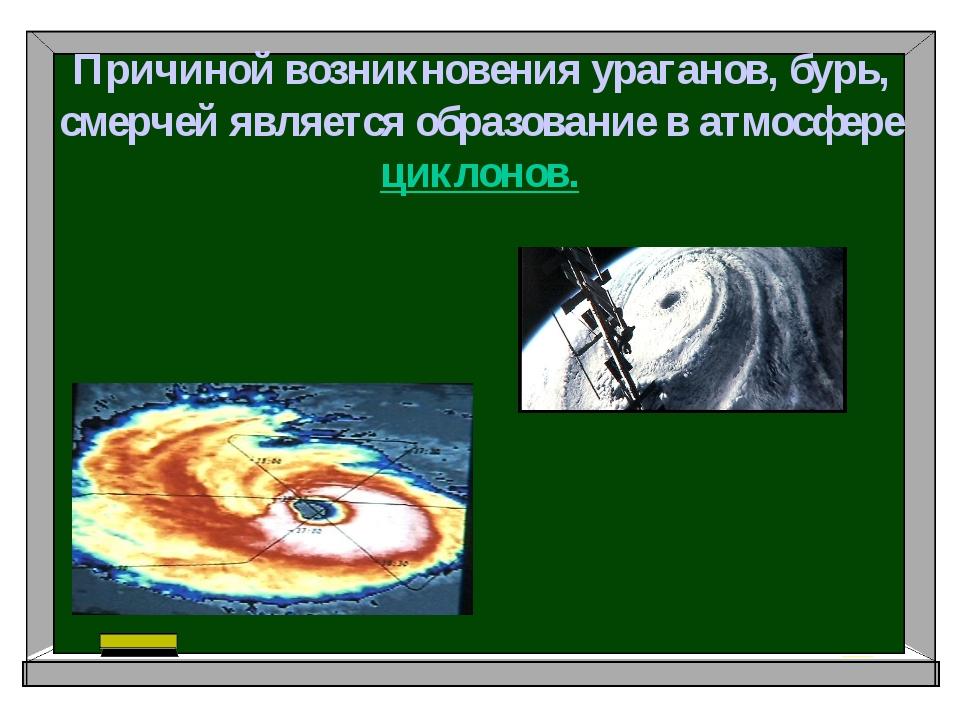 Причиной возникновения ураганов, бурь, смерчей является образование в атмосфе...