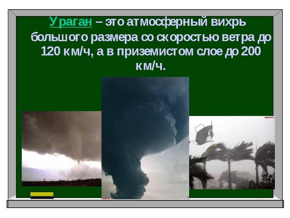 Ураган – это атмосферный вихрь большого размера со скоростью ветра до 120 км...