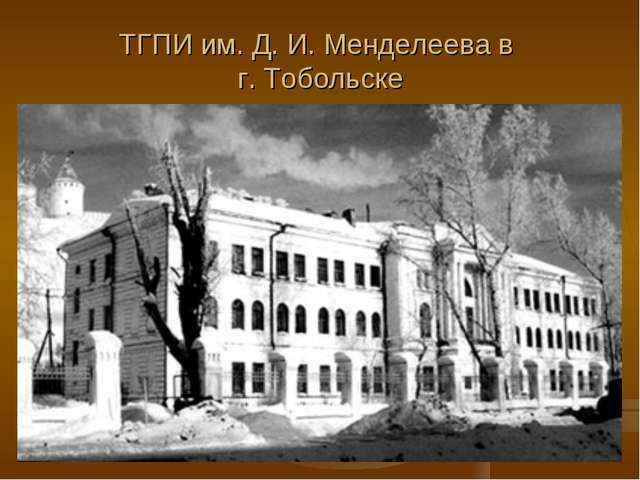 ТГПИ им. Д. И. Менделеева в г. Тобольске