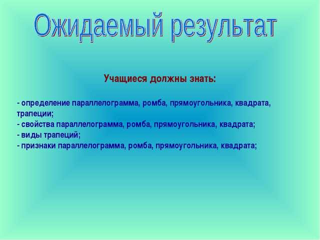 Учащиеся должны знать: - определение параллелограмма, ромба, прямоугольника,...