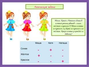 Маша, Катя и Наташа одеты в платья разных цветов – синее, жёлтое и красное.