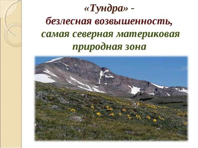 «Тундра» - безлесная возвышенность, самая северная материковая природная зона