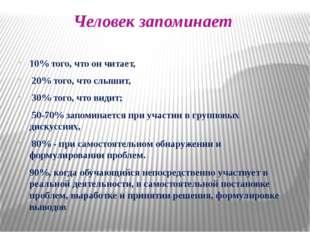 Человек запоминает 10% того, что он читает, 20% того, что слышит, 30% того, ч