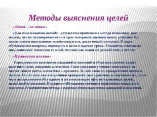 Методы выяснения целей «Знаем – не знаем» Цели использования метода - результ