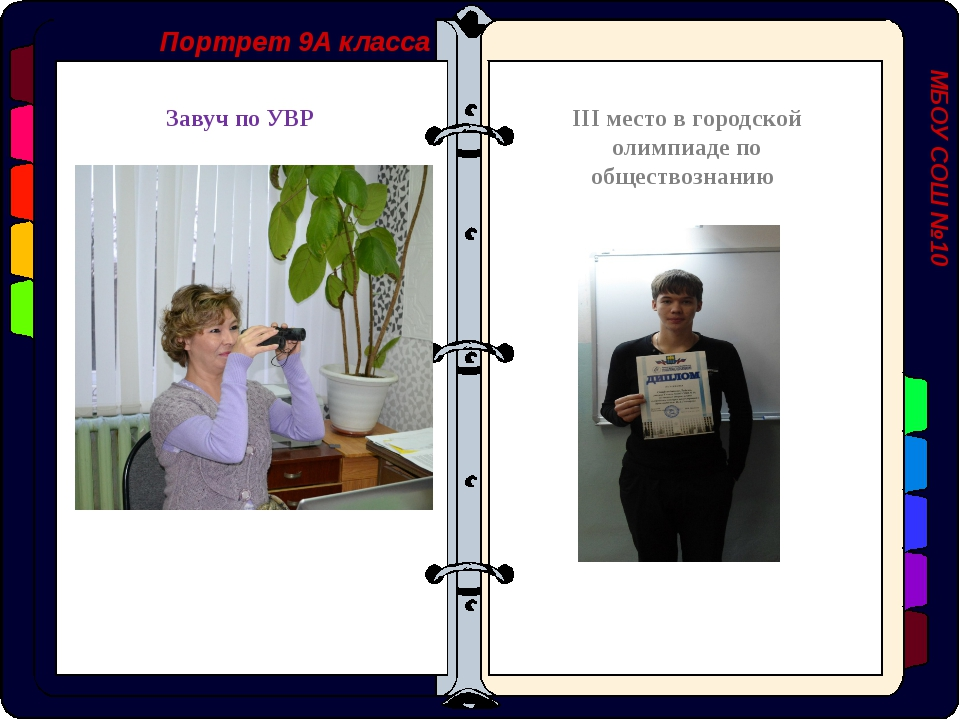 Портрет 9А класса МБОУ СОШ №10 Завуч по УВР III место в городской олимпиаде п...