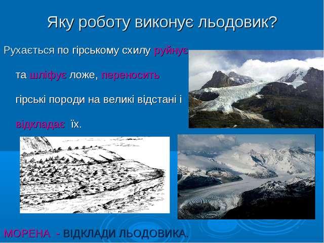 Яку роботу виконує льодовик? Рухається по гірському схилу руйнує та шліфує ло...