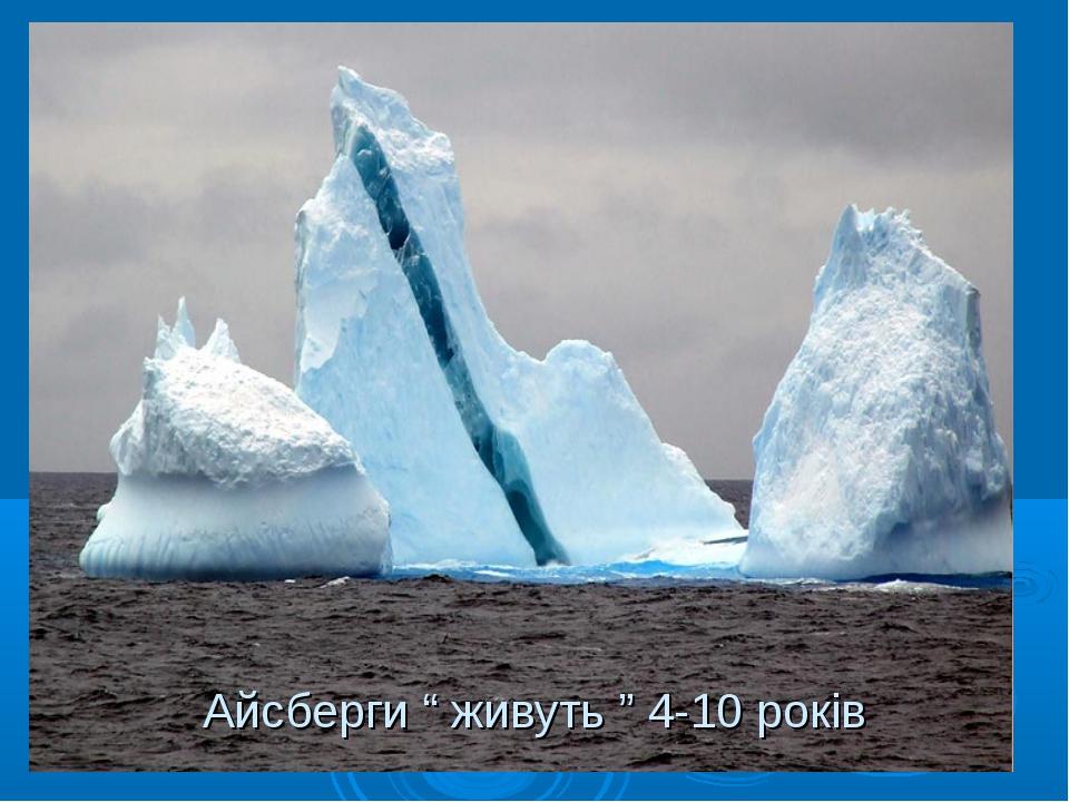 """Айсберги """" живуть """" 4-10 років"""