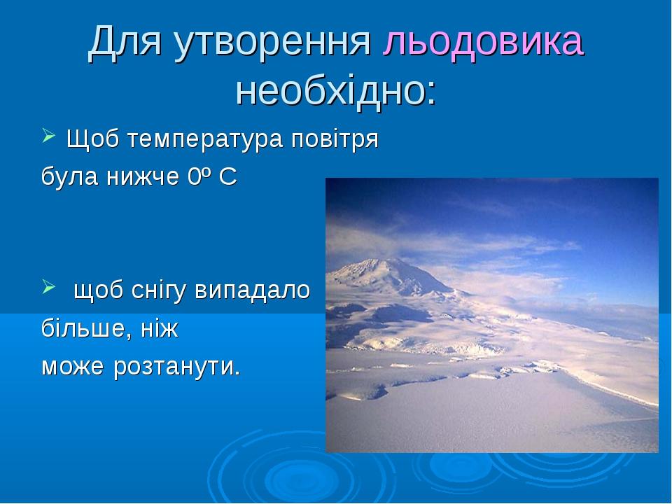 Для утворення льодовика необхідно: Щоб температура повітря була нижче 0º С що...