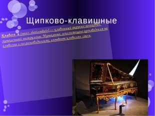 Щипково-клавишные Клавеси́н(итал.clavicembalo)—клавишныйструнно-щипковый
