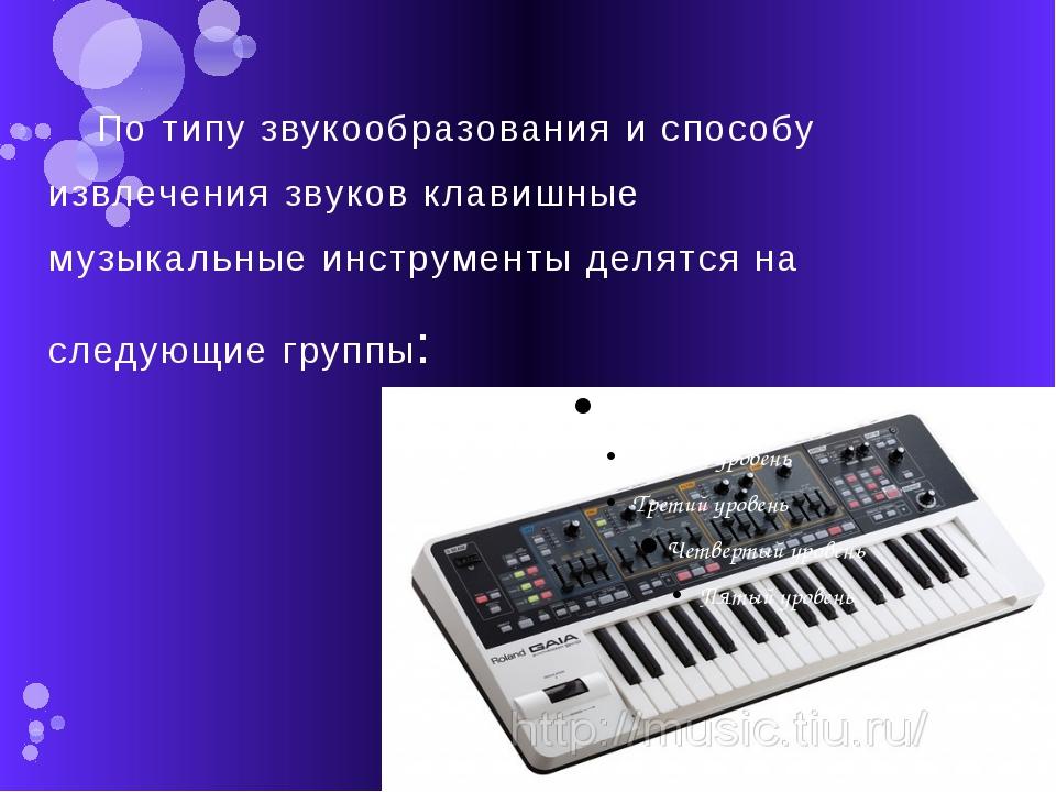 По типу звукообразования и способу извлечения звуков клавишные музыкальные ин...