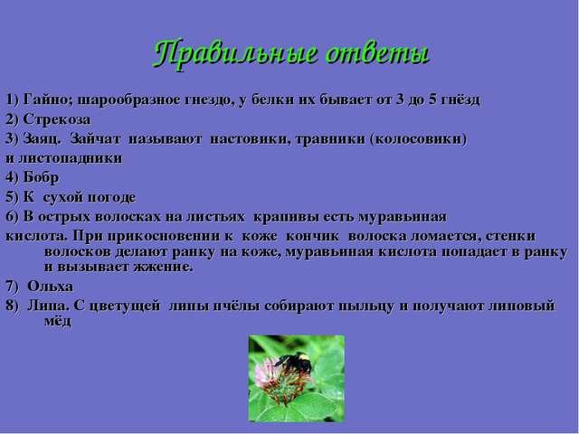Правильные ответы 1) Гайно; шарообразное гнездо, у белки их бывает от 3 до 5...