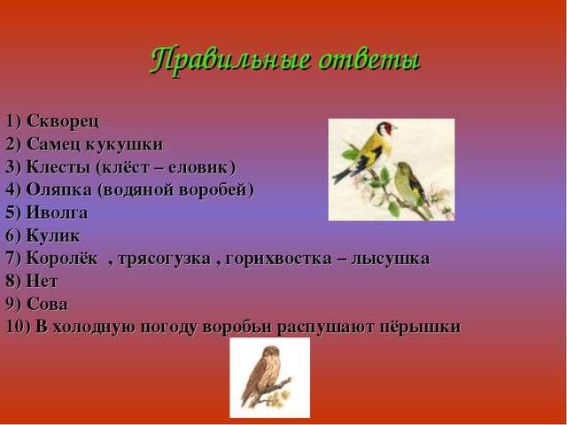 Правильные ответы 1) Скворец 2) Самец кукушки 3) Клесты (клёст – еловик) 4) О...
