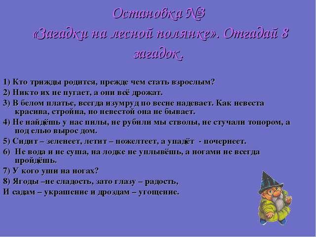 Остановка №3 «Загадки на лесной полянке». Отгадай 8 загадок. 1) Кто трижды ро...