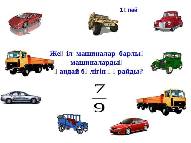 Жеңіл машиналар барлық машиналардың қандай бөлігін құрайды? 1 ұпай