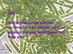200 Бактериальная клетка отличается от клеток других живых организмов (царств
